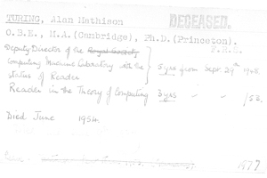 The official HR record of Alan Turing