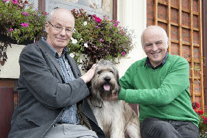 Professors Michael Worboys and Matthew Cobb with Meesha the Catalan sheepdog