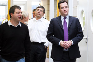 Professors Andre Geim and Kostya Novoselov with Chancellor George Osborne