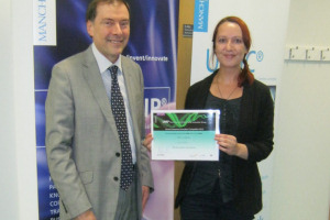 Winner Ruth Daniel and Professor Luke Georghiou, VP for Research and Innovation