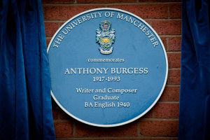 The blue plaque honoring  Anthony Burgess