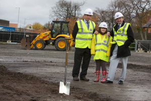 Professor Nic Jones (left) with Amber and Stan at the breaking-the-ground event