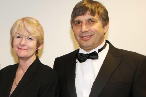 President and Vice-Chancellor Nancy Rothwell with Regius Professor Andre Geim