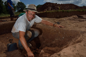 Professor  Julian Thomas  at one of  the prehistoric burial mound sites