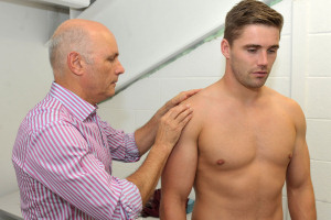 SKIN CHECK: Professor Chris Griffiths gives advice to Salford Reds Ashley Gibson