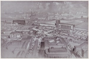 Trinity station, proposed in the 1945 City of Manchester Plan