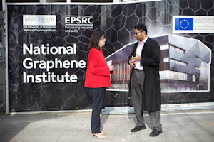 Lucy Powell MP visited the site of the National Graphene Institute