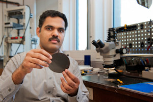 Dr Nair with a graphene membrane
