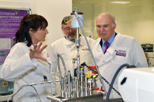 Vince Cable MP speaking to Professors Perdita Barran and Douglas Kell