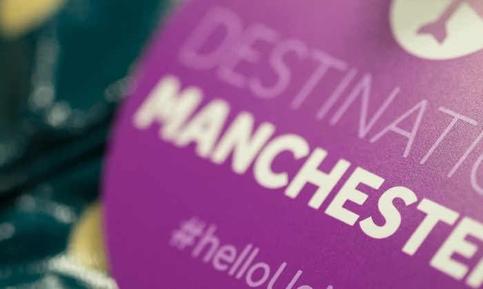 Destination Manchester suitcase tag