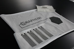 Printed electronics on textiles created with graphene-oxide