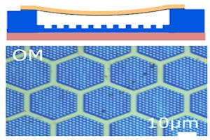 Graphene membrane suspended over an array of cavities