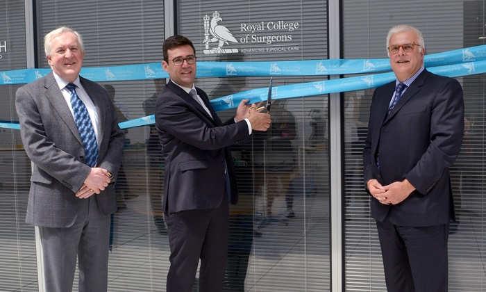 Left to Right:Professor Derek Alderson, Andy Burnham, Professor Peter Clayton