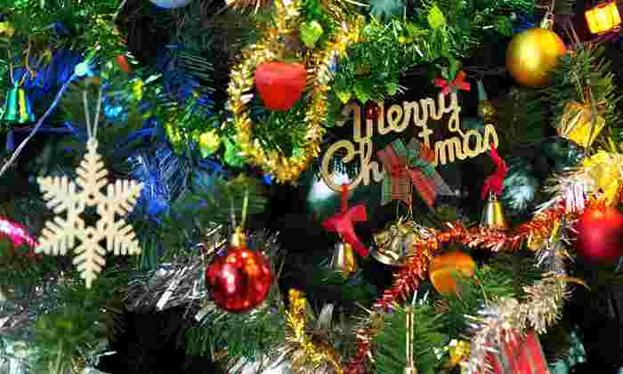 merry christmas sign on tree
