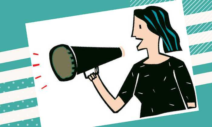 Cartoon woman holding a megaphone