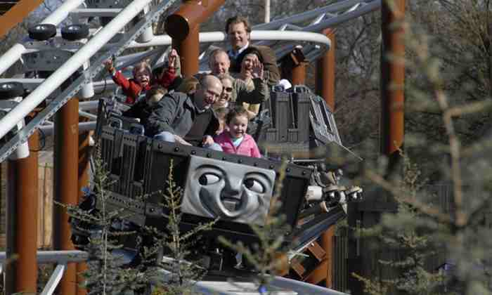 Families with young children on Thomas Tank rollercoaster