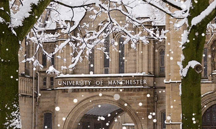 The University of Manchester in the snow