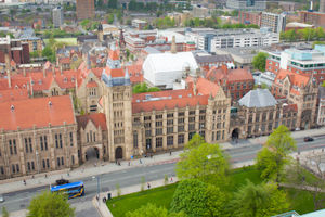 Aerial view of Whitworth building