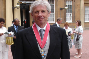 Professor Bill Shaw after receiving his CBE at Buckingham Palace