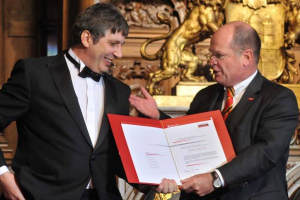 Prof Geim receiving his award in Hamburg