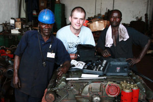 Dale Barnes during his placement in Sierra Leone